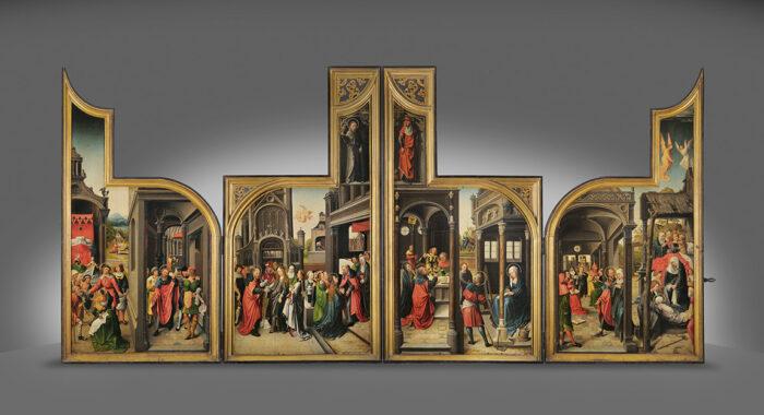 V.Van Orley, La vie de Joseph et l'enfance de Jésus, partie peinte du Retable de Saluces, 1500-1510 © Y.Peeters et A.Dohet