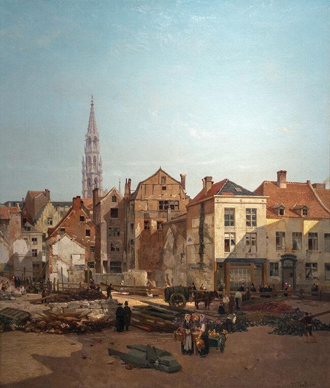 J-B.Van Moer, Démolition de l'ancien Marché au Beurre, 1868 © Musée de la Ville de Bruxelles