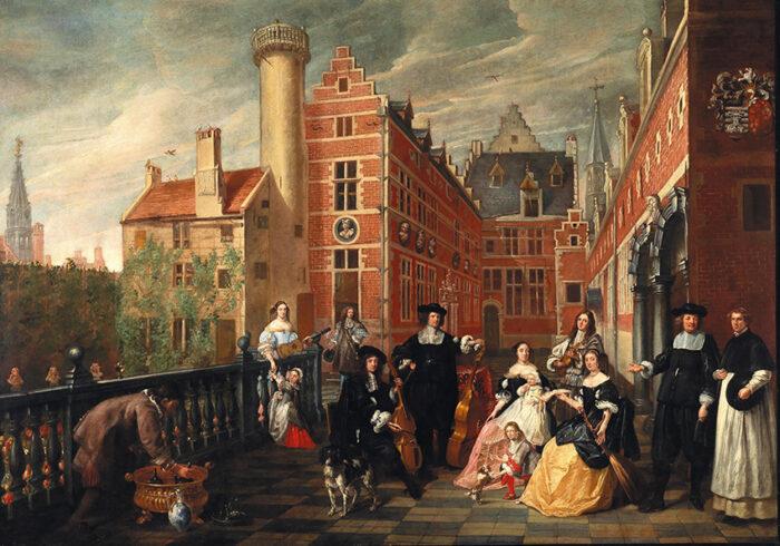 L.Volders, Portrait d'une famille avec un prince royal dans la cour d'un palais, 1666_Depot Fondation Roi Baudouin