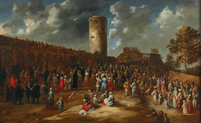 """G.Van Tilborgh, Concours annuel du serment des Archers au pied de la """"Wollendriestoren"""", entre 1640 et 1678 ©Dorotheum"""