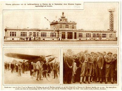 Inauguration des nouveaux bâtiments de l'aéroport de Haren par le ministre Maurice Auguste Lippens, et arrivée de l'aréoplane « L'Oiseau Jaune » avec son équipage, 1929 © Collection privée (A. Tollet)