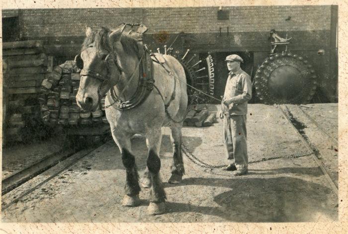 E. Vandeven, Cheval tirant des traverses de chemin de fer créosotées, 20e siècle © Collection privée