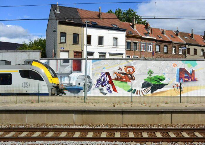 Fresque murale participative à la station de chemin de fer de Haren, 2016 © Collection privée (GC De Linde)