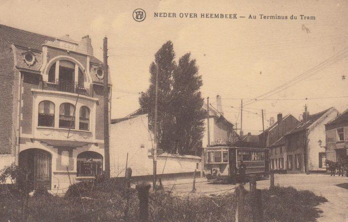 Le tram 47 à son terminus, rue de Ransbeek, carte postale © Collection privée